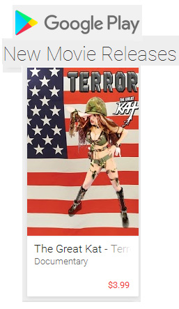 """NEW!! GOOGLE PLAY FEATURES THE GREAT KAT'S NEW """"TERROR"""" MUSIC VIDEO in NEW MOVIES RELEASES: https://play.google.com/store/movies/collection/movers_shakers  Rent or Buy """"Terror"""" on Google Play Now at https://play.google.com/store/movies/details/The_Great_Kat_Terror?id=o8p15OUfT3U """"Terror"""" Music Video About 9/11 From The Great Kat! The song Terror was written by The Great Kat immediately after 9/11 in New York City! Video Filmed in Sept. 2016 to Commemorate the 15th Anniversary! Terror Video features The Great Kat Shred Soldier Shredding Guitar with her All-Male Army Band & Bach's famous """"Toccata and Fugue"""" Intro! Includes authentic photos taken at Ground Zero after 9/11."""