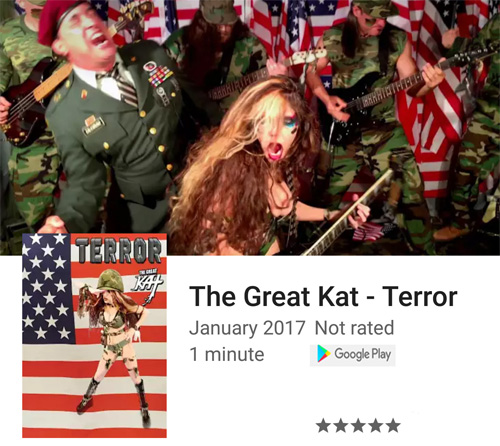 """The Great Kat's NEW """"TERROR"""" Music Video on """"Top Movies - Movies & TV on Google Play"""""""