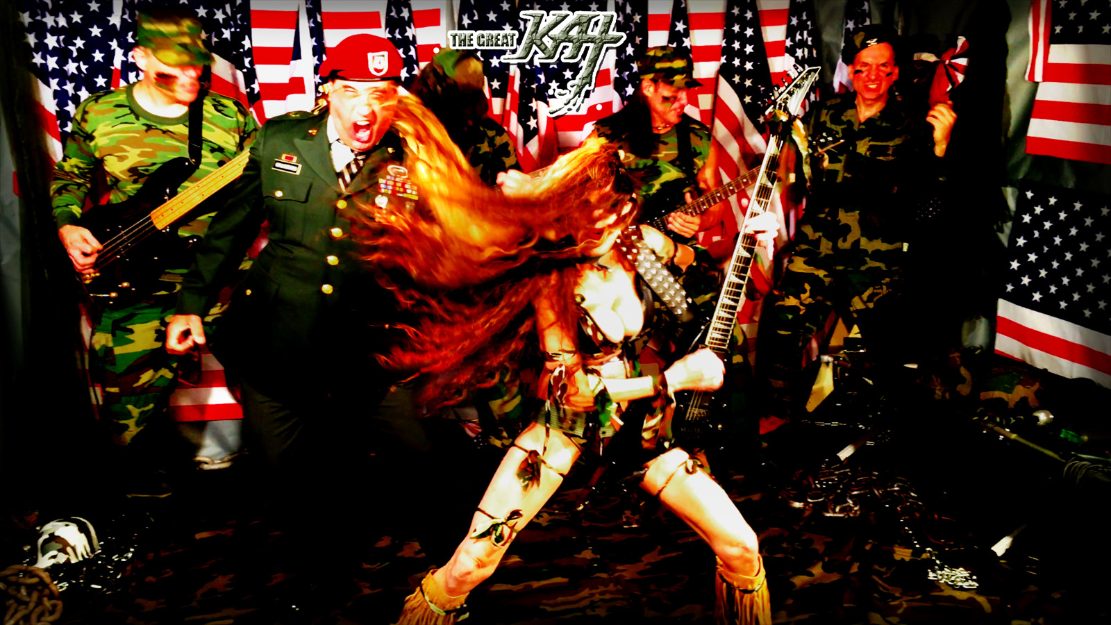 """THE GREAT KAT LEADS HER ALL-MALE ARMY BAND INTO WAR! From The Great Kat's """"TERROR"""" MUSIC VIDEO!!"""