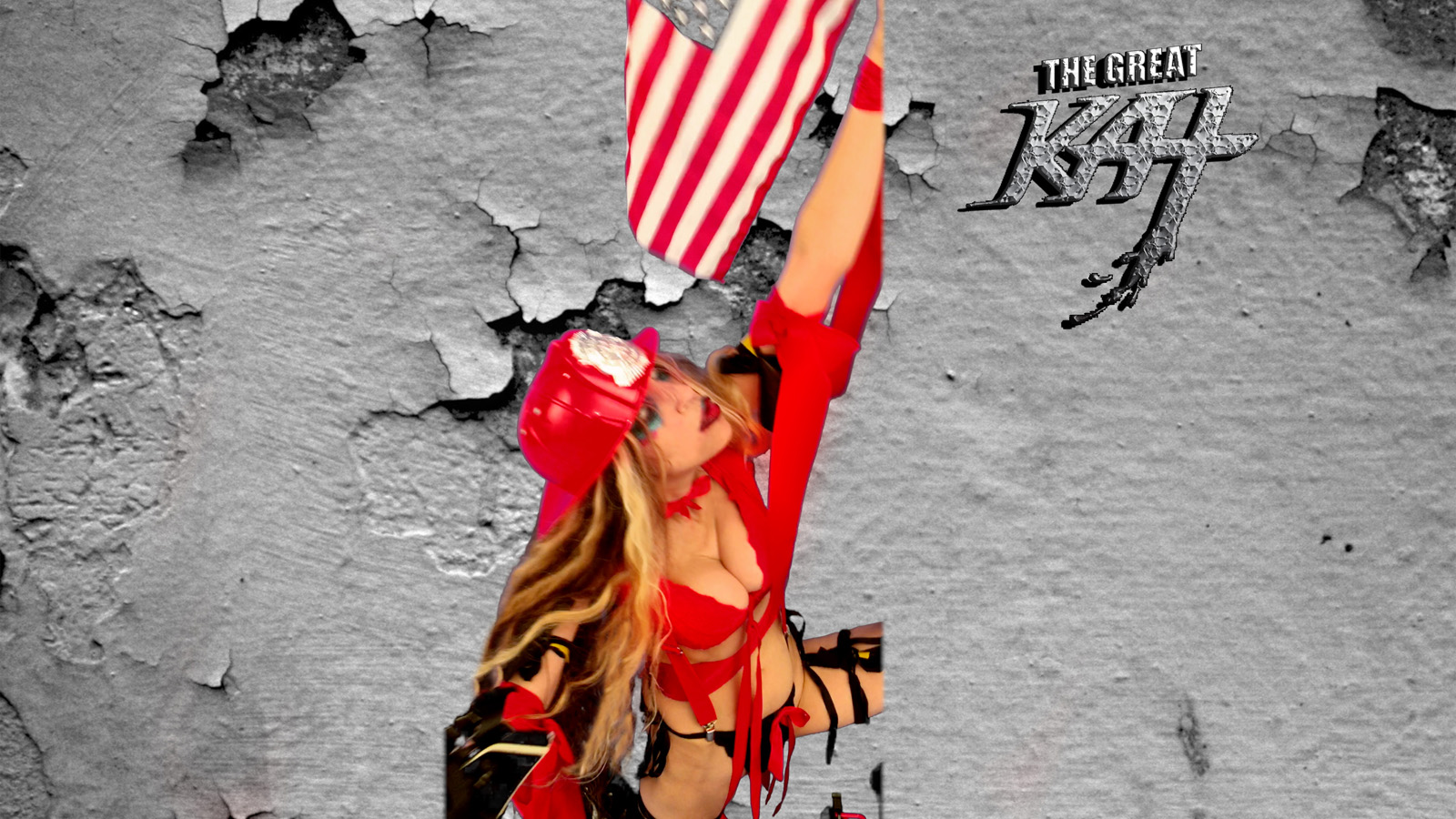 """GREAT KAT RAISES THE AMERICAN FLAG! From The Great Kat's """"TERROR"""" MUSIC VIDEO!"""