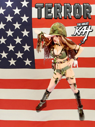"""TERROR"" NEW MUSIC VIDEO About 9/11 From THE GREAT KAT - WORLD PREMIERE on AMAZON PRIME at https://www.amazon.com/Great-Kat-Terror/dp/B01MDUQB9U ""Terror"" Music Video About 9/11 From The Great Kat! The song Terror was written by The Great Kat immediately after 9/11 in New York City! Video Filmed in Sept. 2016 to Commemorate the 15th Anniversary! Terror Video features The Great Kat Shred Soldier Shredding Guitar with her All-Male Army Band & Bach's famous ""Toccata and Fugue"" Intro! Includes authentic photos taken at Ground Zero after 9/11. Also Available on AMAZON U.K. https://www.amazon.co.uk/dp/B01M7Y2GNR AMAZON GERMANY https://www.amazon.de/dp/B01M8QO225 & AMAZON JAPAN https://www.amazon.co.jp/dp/B01M9JCWBD/  & on Upcoming New Great Kat DVD!"