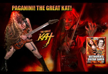 "THE GREAT KAT TV COMMERCIAL for PAGANINI'S ""CAPRICE #24"" on ""BEETHOVEN'S GUITAR SHRED"" DVD - PAGANINI & THE GREAT KAT - HISTORY'S ONLY DOUBLE GUITAR/VIOLIN VIRTUOSOS!"