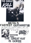 "The Great Kat CONCERT POSTER! ""METAL'S FASTEST GUITARIST!!!! THE GREAT KAT CONCERT! WITNESS HYPERSPEED LIVE!!!!!!!!!!!! THE GREAT KAT IS GOD!!!!"" ""WORSHIP ME OR DIE!"" Era's The Great Kat LIVE at the ELECTRIC BANANA in PITTSBURGH, PA!"