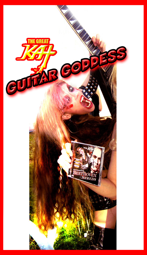 "The Great Kat Guitar Goddess/REINCARNATION of BEETHOVEN SHREDDING ""BEETHOVEN SHREDS"" CD at TPR Event on Sat. (8/24/13)! ""'Beethoven Shreds,' a speed demon version of revered classical tracks served up Great Kat style on guitar. A whirlwind look at Beethoven gone metal.""-Rock Music Examiner"
