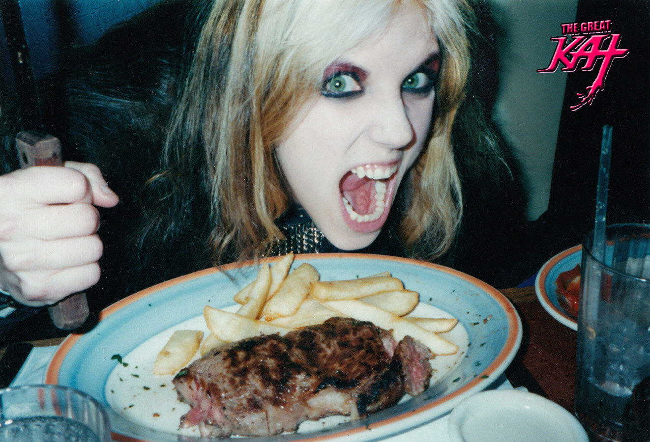 BEHIND THE SCENES - AFTER Grueling Shred Rehearsal: THE GREAT KAT, BLOODY MEAT LOVER, DEMOLISHES STEAK & FRIES! (STEAK NEVER HAD A CHANCE!)!