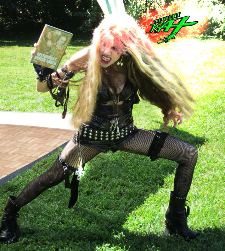 """The Great Kat SHREDS """"BEETHOVEN'S GUITAR SHRED"""" DVD at Thomas PR Event!"""
