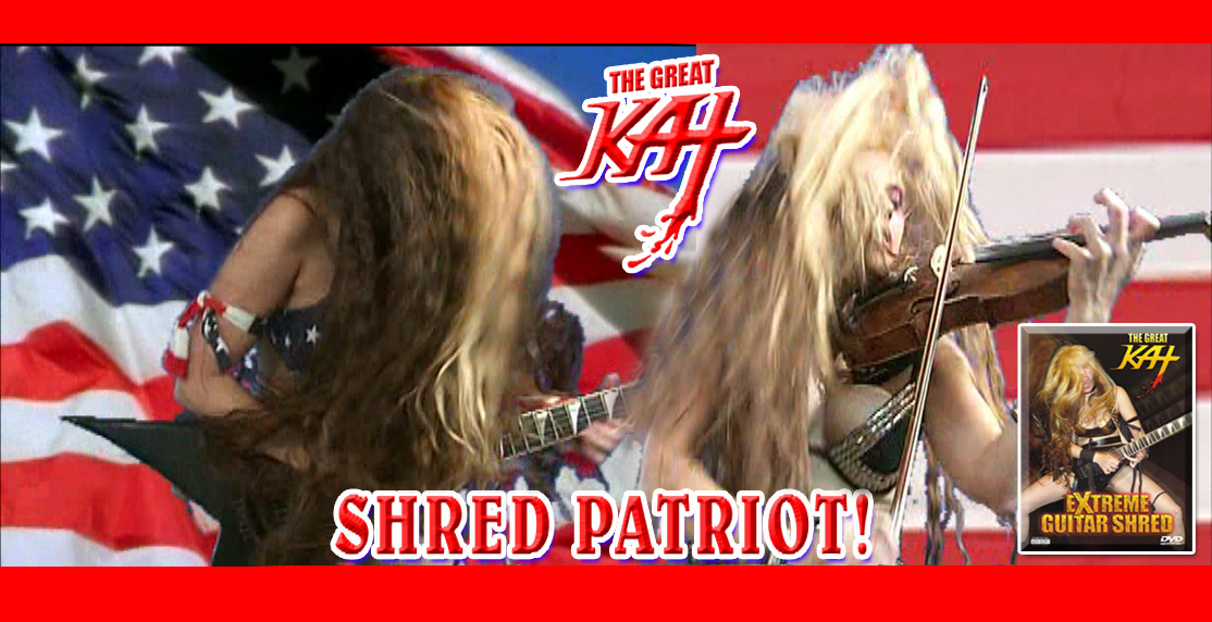 "ZAPATEADO - THE GREAT KAT GUITAR/VIOLIN SHREDDER GOES PATRIOTIC in COMMERCIAL for ""EXTREME GUITAR SHRED"" DVD!"