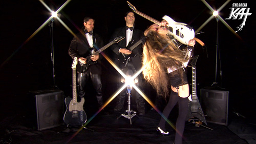 "RADIOACTIVE METAL RADIO SHOW'S REVIEW of THE GREAT KAT'S ""WILLIAM TELL OVERTURE"" MUSIC VIDEO! ""The Great Kat! 'William Tell Overture'. Dude, it's a fun video. Super fast playing, of course, it's The Great Kat. She's got 3 guys behind her playing the guitar, like it's an orchestra. A Lot of fun. Great tune. It's The Great Kat at her best, shredding like a maniac. William Tell Overture on iTunes."" - Roch Vaillancourt, Radioactive Metal"