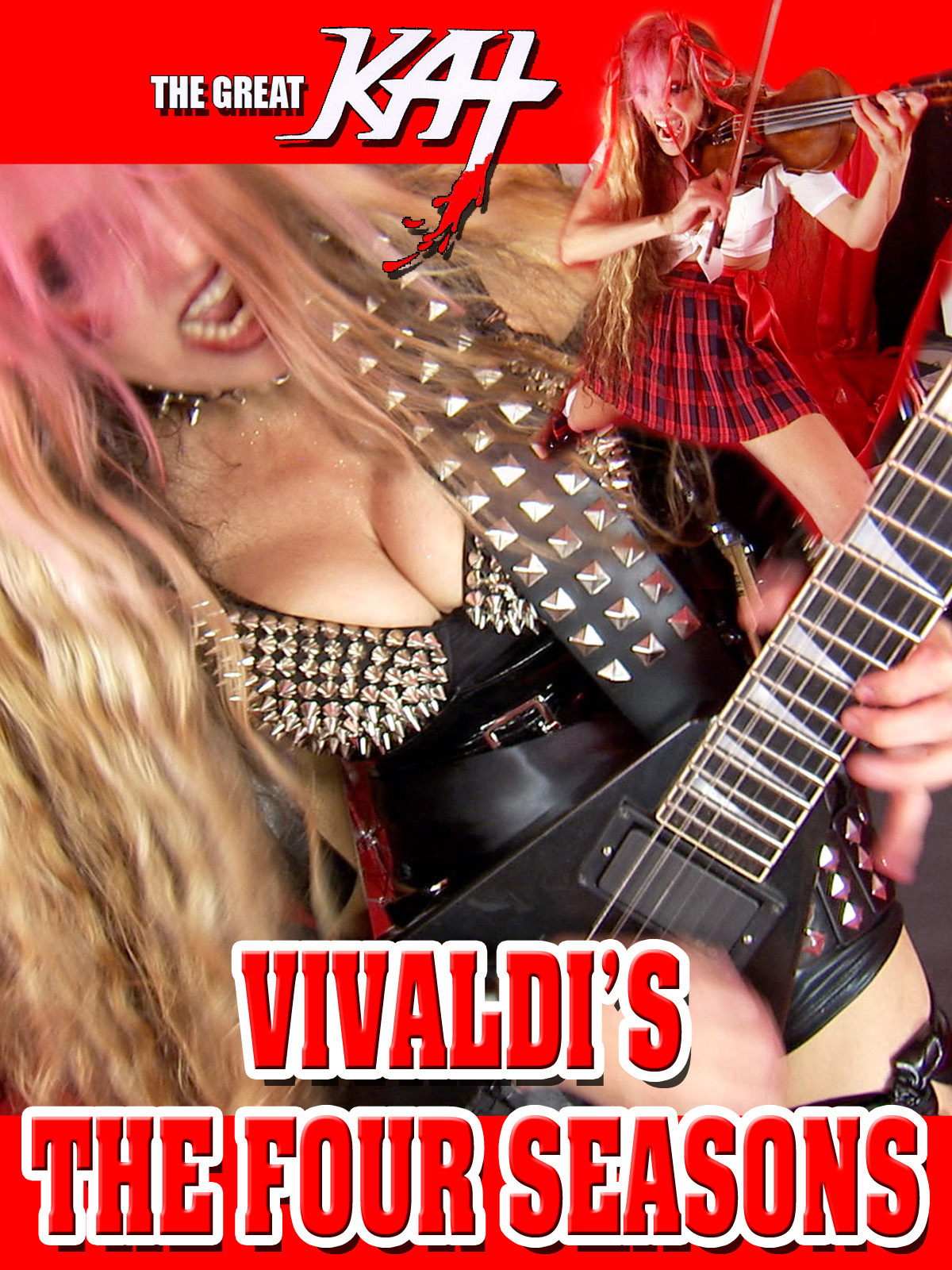 """AMAZON PREMIERE of THE GREAT KAT'S VIVALDI'S """"THE FOUR SEASONS"""" MUSIC VIDEO from UPCOMING DVD! WATCH FREE on AMAZON PRIME https://www.amazon.com/dp/B01M1H4E70 The Great Kat, Carnegie Recital Violin Soloist/""""Top 10 Fastest Shredders Of All Time"""" Shreds VIVALDI'S """"THE FOUR SEASONS"""" at Hyperspeed! This stunning Iconic Music Video stars The QUEEN of BOTH Classical Violin AND Shred Guitar, The Great Kat's BLISTERING virtuosity, """"Antonio Vivaldi"""" composing """"The Four Seasons"""" in Italy 1723 and Great Kat's All-Male Hunk Band. From upcoming new Great Kat DVD! WATCH FREE on AMAZON PRIME at https://www.amazon.com/dp/B01M1H4E70"""