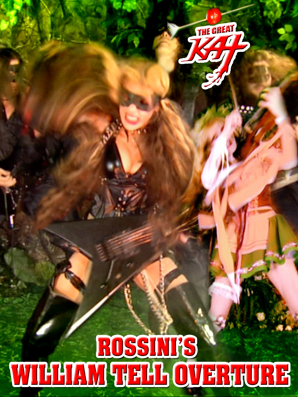 """AMAZON PREMIERES ROSSINI'S """"WILLIAM TELL OVERTURE"""" MUSIC VIDEO: The Great Kat shreds the famous TV show Lone Ranger theme song on guitar & violin!  WATCH at https://www.amazon.com/dp/B079JRY3CD  The Great Kat shreds the famous TV show """"Lone Ranger"""" theme song on virtuoso guitar & violin and conducts her all-male rhythm guitar symphony, bringing the legend of the famous archer William Tell to life. Rossini's """"William Tell Overture"""" is one of Classical music's most recognizable masterpieces. Starring Great Kat (""""Top 10 Fastest Shredders Of All Time"""") Juilliard virtuoso violin/guitar legend."""
