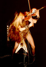 The Great Kat (Katherine Thomas) is the recipient of a German violin made in 1850 from THE FRIENDS OF MOZART SOCIETY.