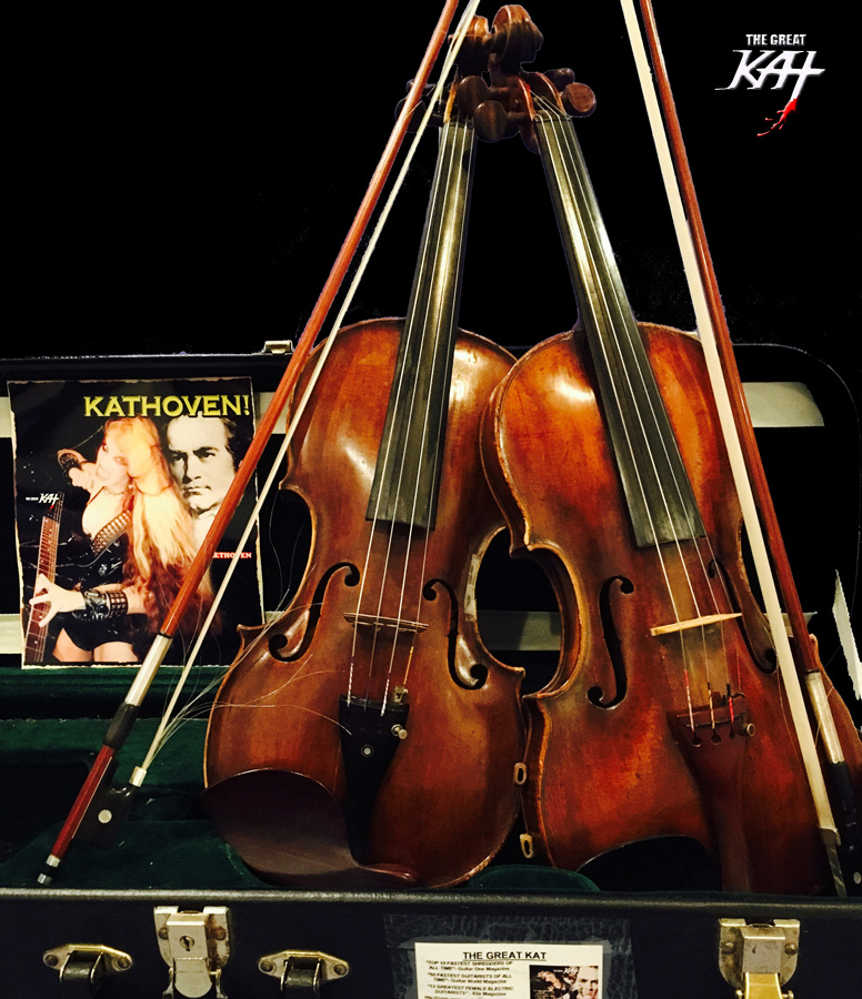 My GERMAN VIOLIN (1850) & IRISH VIOLIN (1800s) getting ready to be SHREDDED by THE GREAT KAT! KATHOVEN RULES!