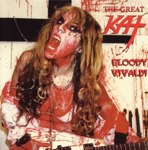 "NEW! ""THE MERCILESS BOOK OF METAL LISTS"" NAMES THE GREAT KAT'S ""BLOODY VIVALDI"" CD ""200 EMBARRASSINGLY"" ALBUM COVERS""! ""66. THE GREAT KAT - Bloody Vivaldi"" - Howie Abrams, The Merciless Book of Metal Lists"