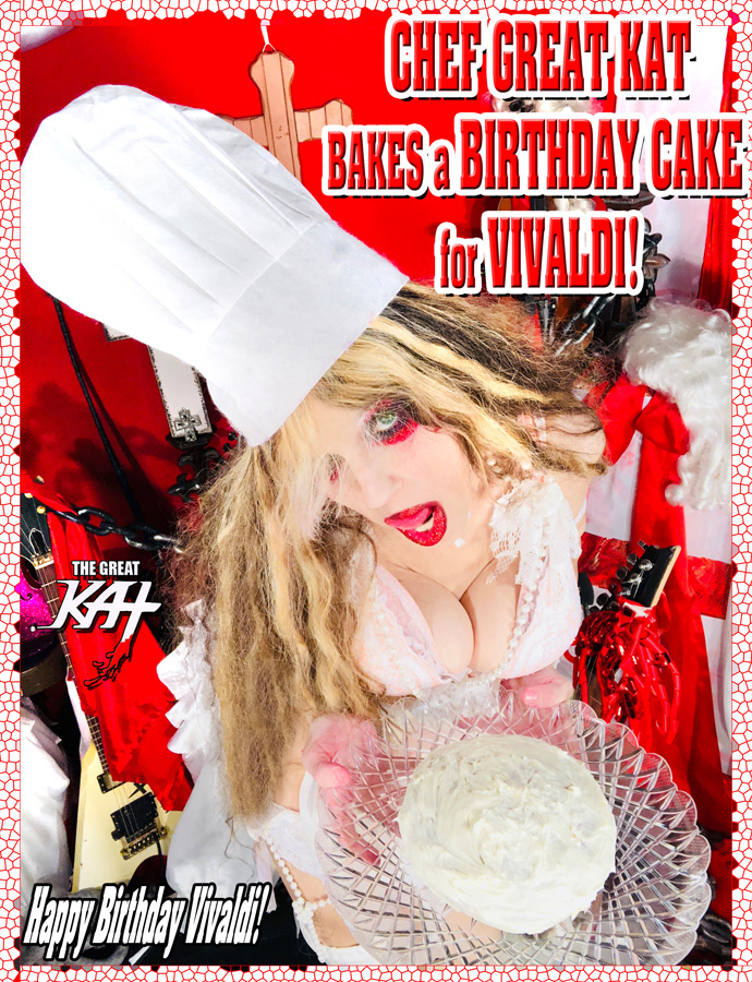 CHEF GREAT KAT BAKES a BIRTHDAY CAKE for VIVALDI! Happy Birthday Vivaldi!