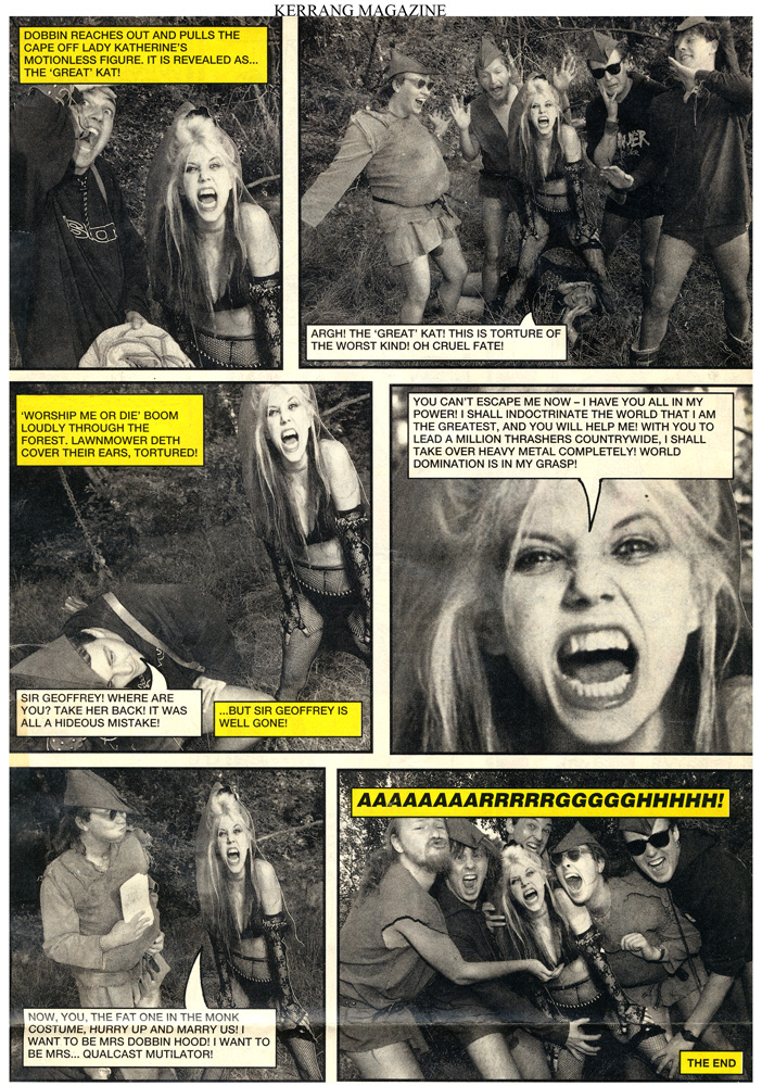 Lawnmower Deth Band WORSHIPS The Great Kat Guitar Goddess in Kerrang Magazine's Comic!