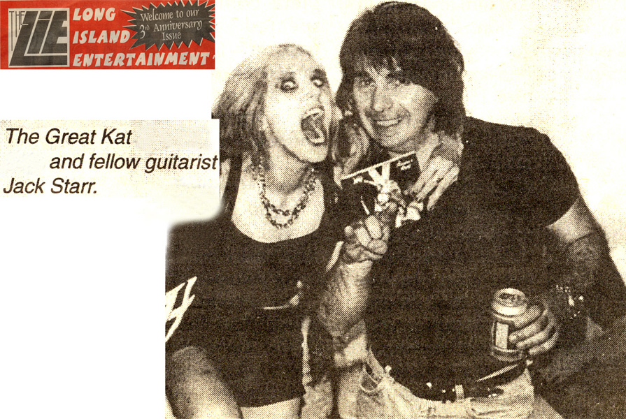 """THE GREAT KAT AND FELLOW GUITARIST JACK STARR"" in THE GREAT KAT INTERVIEW in LONG ISLAND ENTERTAINMENT MAGAZINE"