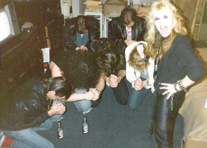 WORSHIPPING KAT PHOTO! Monte Conner & Slaves PRAYING to The Great Kat High Priestess Of Guitar Shred in NYC!