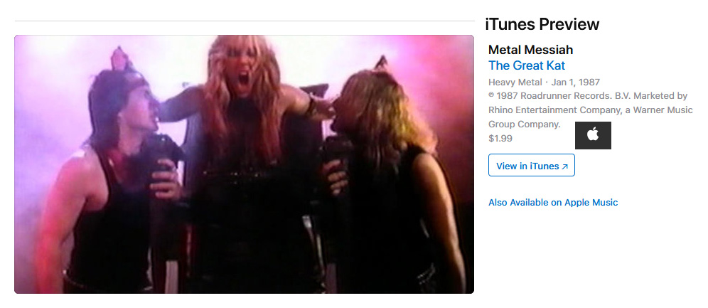 "WARNER MUSIC RELEASES on iTUNES VIDEOS THE GREAT KAT'S ""BEETHOVEN MOSH"" & ""METAL MESSIAH"" LEGENDARY MUSIC VIDEOS!!"