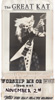 "EXTREMELY RARE METAL HISTORY!!!! From ""WORSHIP ME OR DIE!"" ERA! 8x10 PHOTO PRINT of FLYER HANDMADE by THE GREAT KAT Announcing: ""THE GREAT KAT WORSHIP ME OR DIE! album out NOVEMBER 2nd JOIN THE KAT SLAVE CLUB!!"""