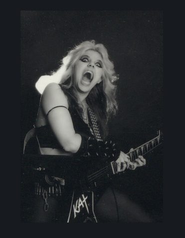"""RARE METAL HISTORY! """"WORSHIP ME OR DIE!"""" ERA'S HYPERSPEED GUITAR MANIAC, THE GREAT KAT! PERSONALIZED AUTOGRAPHED Hot Kat 8x10 Glossy B&W Photo! ONLY $125"""