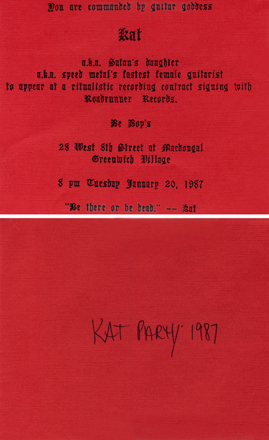 """EXTREMELY RARE METAL HISTORY!!!! 8x10 PHOTO of FAMOUS INVITE for THE GREAT KAT'S RECORDING CONTRACT SIGNING PARTY in NYC on January 20, 1987 from """"WORSHIP ME OR DIE!"""" ERA!"""