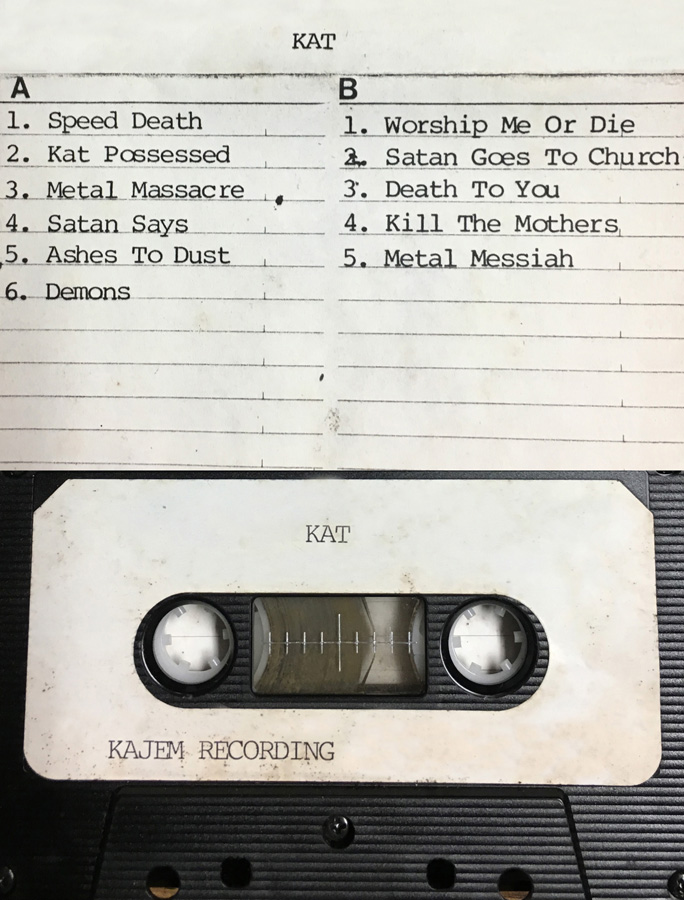 """METAL HISTORY! PHOTO of The Great Kat's CASSETTE MIX from """"WORSHIP ME OR DIE!"""" recording at KAJEM RECORDING STUDIO in PA! HISTORY is MADE!"""