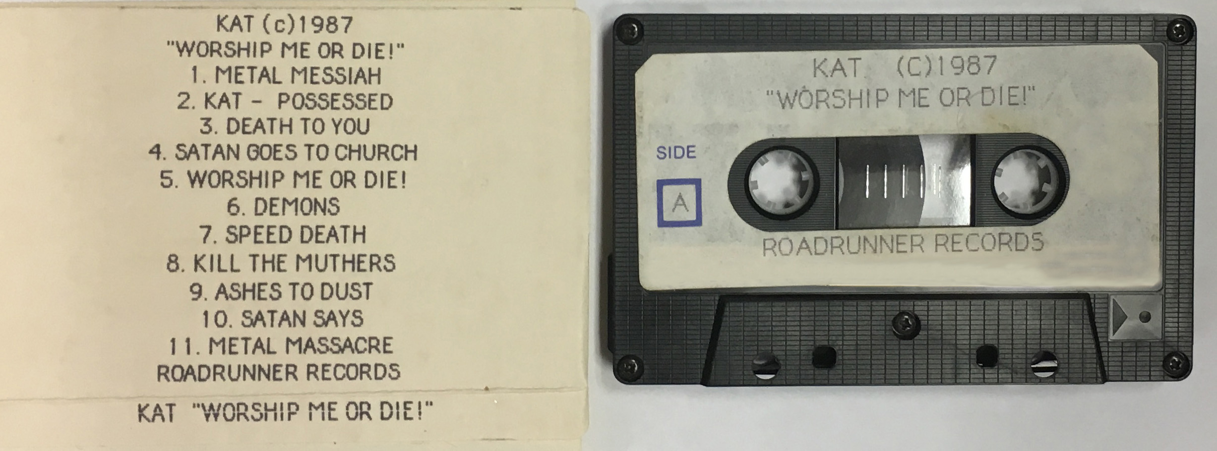 """RARE METAL HISTORY! PHOTO of The Great Kat's CASSETTE MIX from """"WORSHIP ME OR DIE!"""" recording! HISTORY is MADE!"""