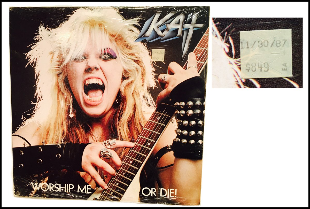 """The Great Kat's personal copy of """"WORSHIP ME OR DIE!"""" LP with Original Date/Price Sticker: """"11/30/87 $8.49 Ea""""! AWESOME"""