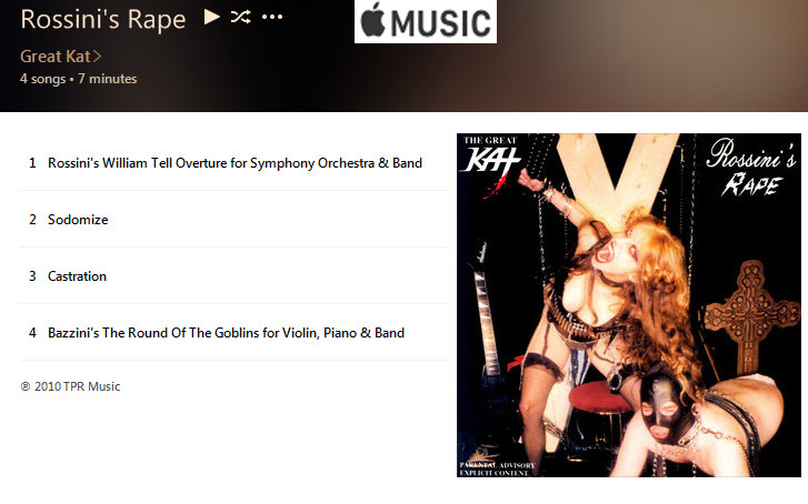 "APPLE MUSIC is NOW STREAMING The Great Kat's ""ROSSINI'S RAPE"" CD!"