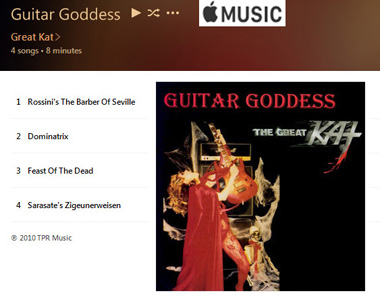 "APPLE MUSIC is NOW STREAMING The Great Kat's ""GUITAR GODDESS"" CD!"