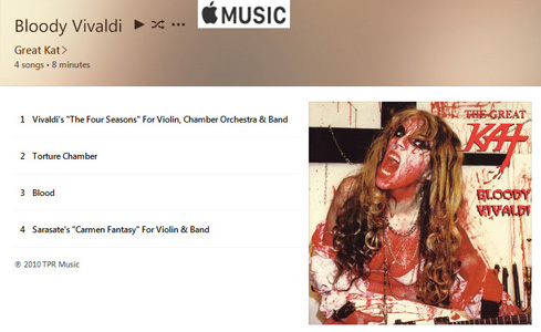 "APPLE MUSIC is NOW STREAMING The Great Kat's ""BLOODY VIVALDI"" CD!"