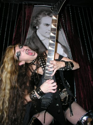 """DSTROYR'S REVIEW OF """"WAGNER'S WAR"""" CD! """"The Great Kat one of the fastest guitar players in the galaxy releases new CD. Wagner's War. It's pretty insane and her abilities are proven on this disc. She just shreds. Over the top speed runs, and a violin. She is a classically trained musician and throws down on the violin for some extra ripping."""" - Dstroyr"""