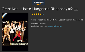 "WORLD PREMIERE on AMAZON INSTANT VIDEO of THE GREAT KAT'S NEW LISZT'S ""HUNGARIAN RHAPSODY#2"" MUSIC VIDEO from UPCOMING DVD!  WATCH NOW!! https://www.amazon.com/dp/B01L3G60EY Hot Female Shredder The Great Kat Shreds BOTH Guitar AND Violin with her Hunky All-Male Band, ""Vlad the Impaler"" & ""Franz Liszt""! Also coming soon to iTUNES!"