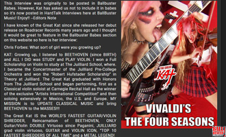 """BALLBUSTER MUSIC'S INTERVIEW WITH THE GREAT KAT! """"EXCLUSIVE: WORLD'S FASTEST GUITAR/VIOLIN SHREDDER THE GREAT KAT""""! by Chris Forbes, Ballbuster Music. Read at http://www.ballbustermusic.com/bbm/hardtalk/2017/07/great-kat"""