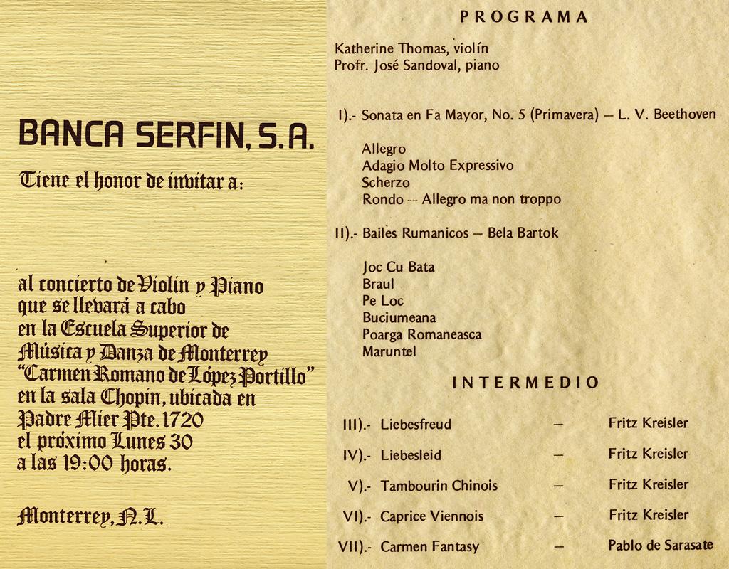 """BANCA SERFIN, S.A.'s RECITAL PROGRAM INVITE FOR KATHERINE THOMAS, PRODIGY VIOLINIST IN MONTERREY, MEXICO! Violin Recital featuring Beethoven, Bartok, Kreisler, Sarasate at La Escuela Superior de Musica y Danza de Monterrey """"Carmen Romano de Lopez Portillo""""!"""