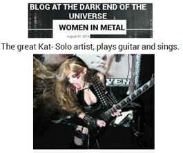 """BLOG AT THE DARK END OF THE UNIVERSE"" FEATURES THE GREAT KAT in ""WOMEN IN METAL""! ""The Great Kat- Solo artist, plays guitar and sings."""