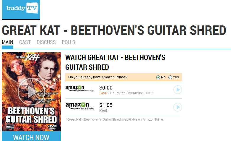 """BUDDYTV Features THE GREAT KAT'S """"BEETHOVEN'S GUITAR SHRED"""" DVD!!!"""