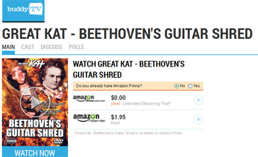 "BUDDYTV Features THE GREAT KAT'S ""BEETHOVEN'S GUITAR SHRED"" DVD!!!"