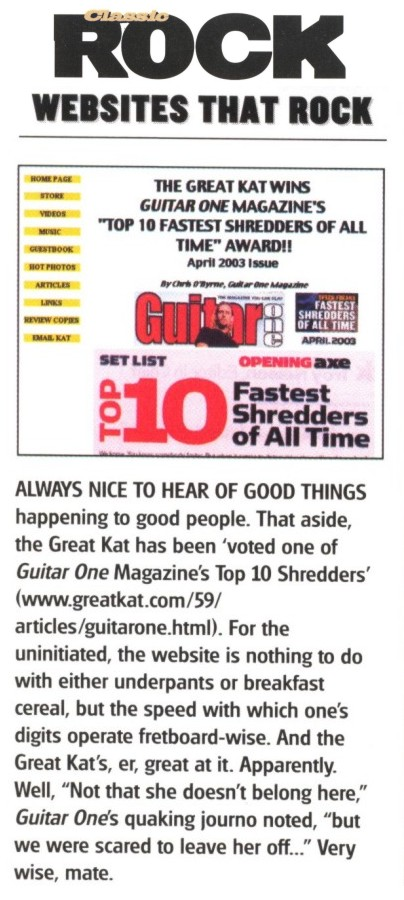 "Kat Website Named ""Websites That Rock"" in ""Classic Rock"" Magazine"