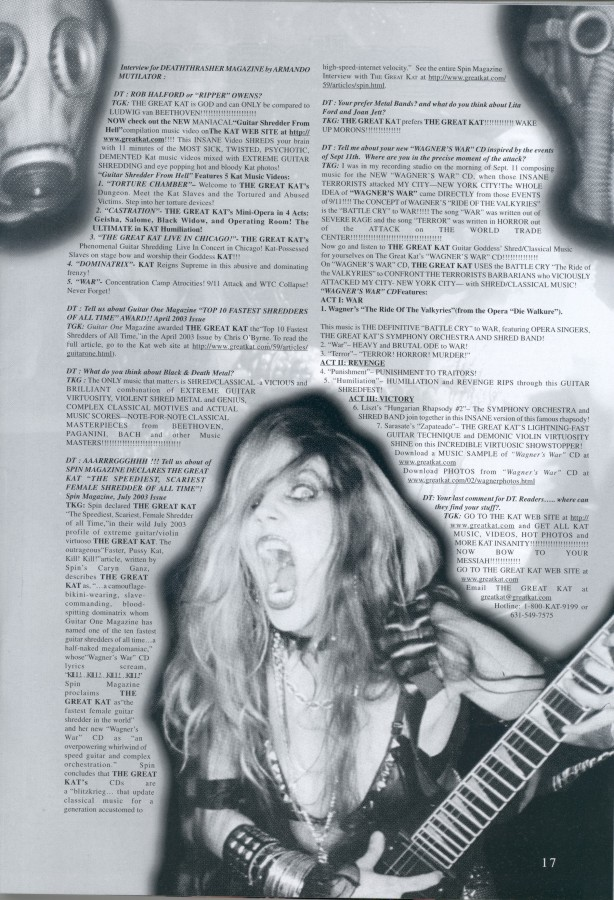 "The Great Kat Cover Story ""CLASSICAL METAL"" in Deaththrasher Magazine"