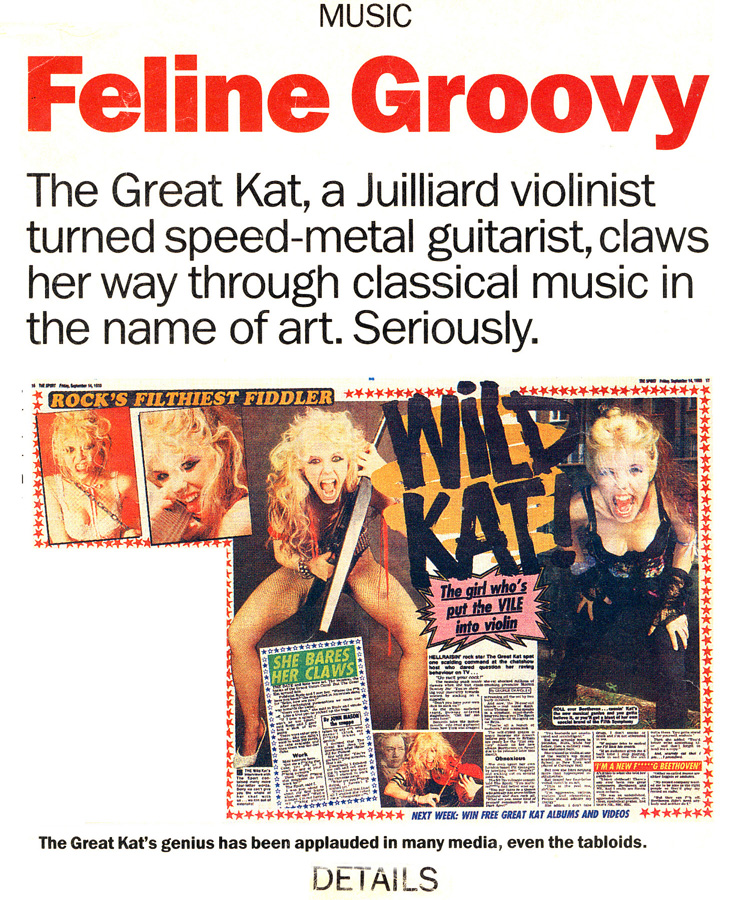 "DETAIL MAGAZINE'S INTERVIEW WITH THE GREAT KAT ""FELINE GROOVY"""