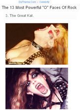 "THE GREAT KAT OUTRAGEOUS GUITAR SHREDDER NAMED ""THE 13 MOST POWERFUL 'O' FACES OF ROCK""! - DIYTHEME.COM"