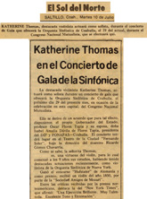 HISTORICAL ANNOUNCEMENT by EL SOL DEL NORTE NEWSPAPER (Saltillo, Coahuila, Mexico) of Katherine Thomas Violin Virtuoso, (The Great Kat) who Performed as a Violin Soloist with La Orquesta Sinfonica de Coahuila, during the Gala Concert sponsored by Governor Oscar Flores Tapia!