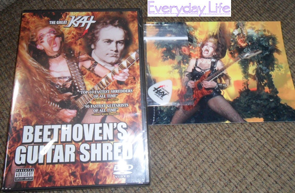 "EVERYDAY LIFE'S REVIEW OF THE GREAT KAT'S ""BEETHOVEN'S GUITAR SHRED"" DVD! ""THE GREAT KAT'S 'BEETHOVEN'S GUITAR SHRED' DVD. This DVD it is mind blowing I never knew that hearing Beethoven on a guitar could be so cool. Kat is amazing and the way she plays the guitar is beyond brilliant. This lady has some serious lightening fast fingers and puts an awesome heavy metal twist on some old music."" - Becca, Everyday Life"