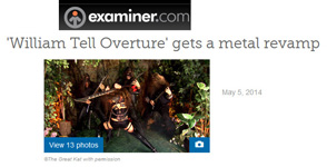"EXAMINER.COM'S REVIEW OF THE GREAT KAT'S ""WILLIAM TELL OVERTURE"" MUSIC VIDEO ""'WILLIAM TELL OVERTURE' GETS A METAL REVAMP""! ""What's new with heavy metal's favorite speed shredding goddess? The Great Kat released a music video for her version of Rossini's 'William Tell Overture.' She plays both the guitar and the violin (usually at 300 BPM), transcribes classical music for a modern twist and dominates her fans. The Great Kat loves to entertain and uses showmanship antics, the likes of which, may be compared to Jimi Hendrix. She licks the guitar and pulls it up over her head and behind her back. If this description intrigues you, you can preview a portion of the music video on iTunes and make your purchase accordingly."" - By Marjorie LaPrade, Boston Art Examiner"