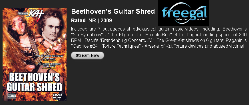 "DOWNLOAD FREE GREAT KAT SHREDCLASSICAL MUSIC & DVDS with ""FREEGAL"" THROUGH PUBLIC LIBRARIES! The Great Kat Guitar Shredder ""Top 10 Fastest Shredders Of All Time"" Now Shredding Beethoven, Bach, Paganini, Vivaldi & More On Your Public Library!"
