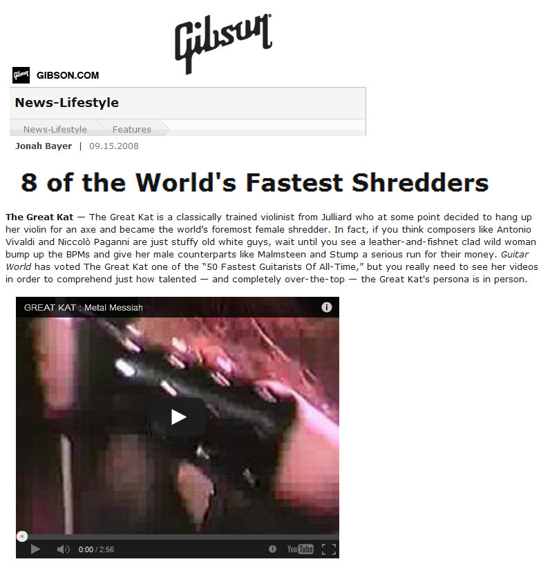 "GIBSON LIFESTYLE NAMES THE GREAT KAT ""8 OF THE WORLD'S FASTEST SHREDDERS"""