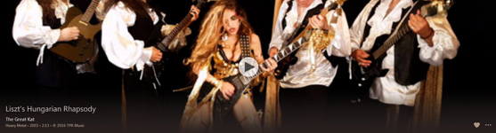 """NEW! WORLD PREMIERE ON iTUNES VIDEOS & AMAZON PRIME: THE GREAT KAT�S LISZT'S """"HUNGARIAN RHAPSODY #2"""" MUSIC VIDEO! FREE with APPLE MUSIC Subscription: https://itunes.apple.com/us/music-video/liszts-hungarian-rhapsody/id1148738451 FREE on AMAZON PRIME at: https://www.amazon.com/dp/B01L3G60EY Wildly entertaining HOT Classical/Metal Female Shredder, The Great Kat Shreds BOTH Guitar AND Violin with her All-Male Stud Band, """"Vlad the Impaler"""" & """"Franz Liszt""""! from Upcoming New Great Kat DVD!"""