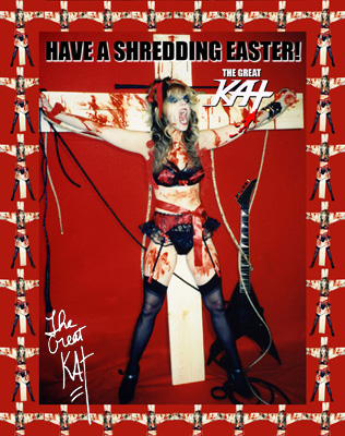 """MISTER GROWL'S REVIEW OF THE GREAT KAT'S """"EXTREME GUITAR SHRED"""" DVD! """"The Great Kat. 'Extreme Guitar Shred'. Should be watched rabidly by the fans that worship the Great Kat. Not only does she rain fiery words of degradation down on her servants, but she also dispatches her victims with blood slick on her face, fret-burning fingers, and cleavage. These are moments of pure heavy metal excess that, for a dedicated fan of the Great Kat, will be their raison d'etre. This is essential for the fans who say they worship their Classical-Shred Messiah."""" - Mister Frasier, Mister Growl"""