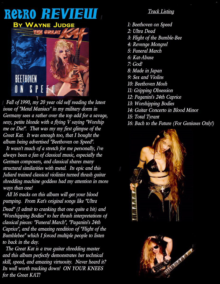 "DEATH BY METAL STL review of Great Kat's LEGENDARY BEETHOVEN ON SPEED: ""Great Kat is a true guitar shredding master. Amazing virtuosity"""